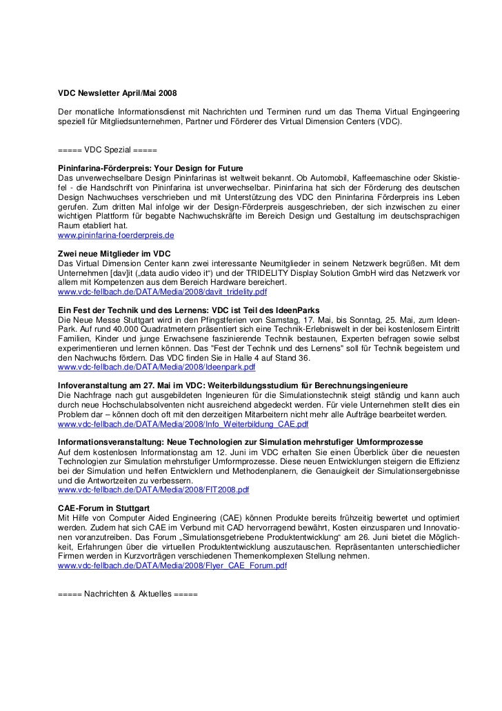 VDC Newsletter April/Mai 2008Der monatliche Informationsdienst mit Nachrichten und Terminen rund um das Thema Virtual Engi...
