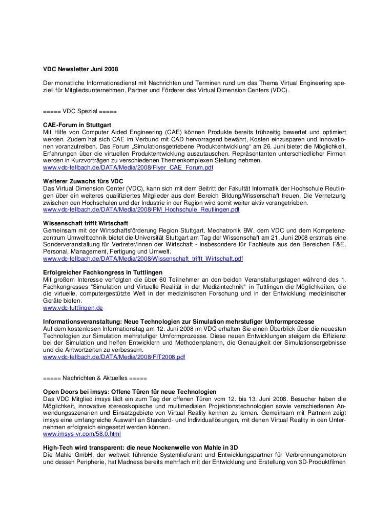VDC Newsletter Juni 2008Der monatliche Informationsdienst mit Nachrichten und Terminen rund um das Thema Virtual Engineeri...