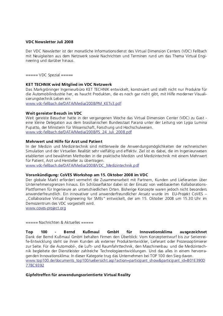 VDC Newsletter Juli 2008Der VDC Newsletter ist der monatliche Informationsdienst des Virtual Dimension Centers (VDC) Fellb...