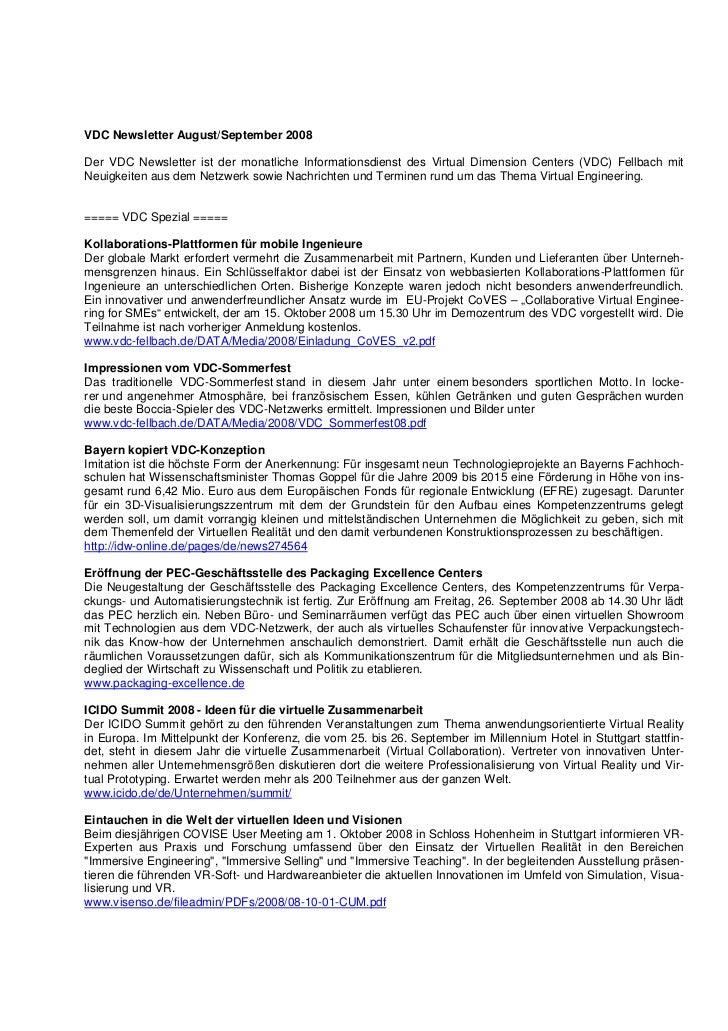 VDC Newsletter August/September 2008Der VDC Newsletter ist der monatliche Informationsdienst des Virtual Dimension Centers...