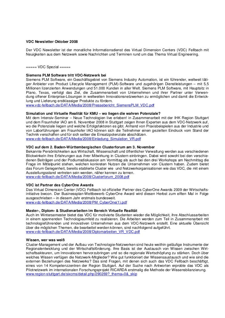 VDC Newsletter Oktober 2008Der VDC Newsletter ist der monatliche Informationsdienst des Virtual Dimension Centers (VDC) Fe...