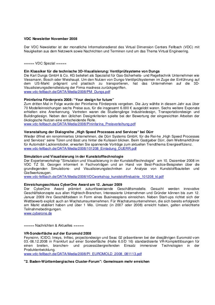 VDC Newsletter November 2008Der VDC Newsletter ist der monatliche Informationsdienst des Virtual Dimension Centers Fellbac...