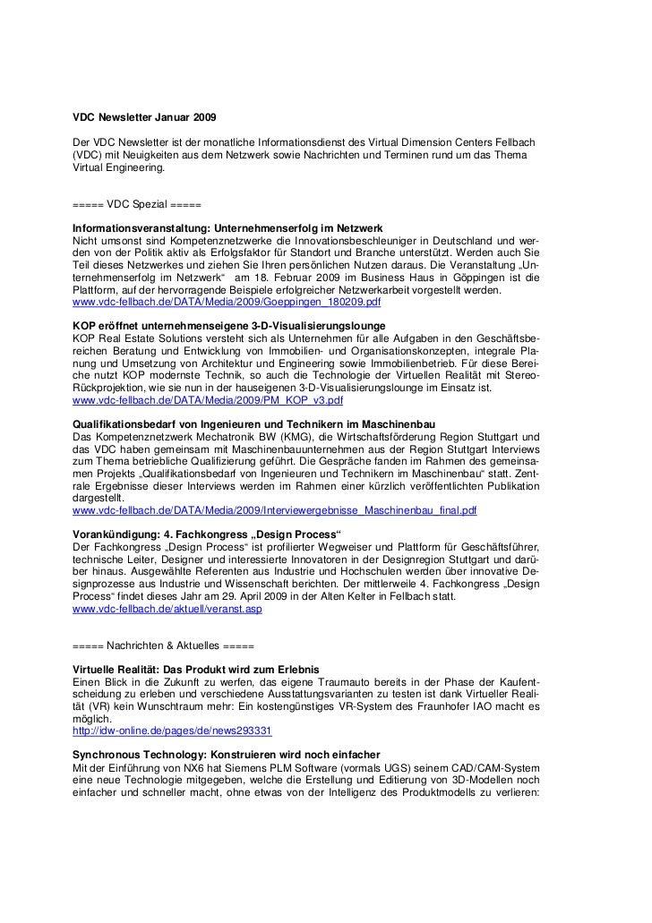 VDC Newsletter Januar 2009Der VDC Newsletter ist der monatliche Informationsdienst des Virtual Dimension Centers Fellbach(...