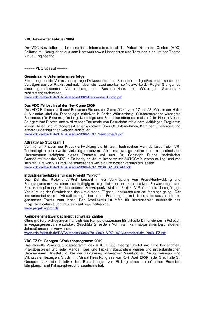 VDC Newsletter Februar 2009Der VDC Newsletter ist der monatliche Informationsdienst des Virtual Dimension Centers (VDC)Fel...