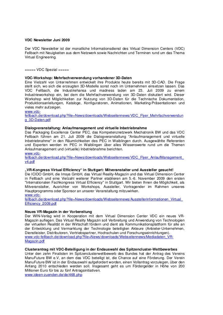 VDC Newsletter Juni 2009Der VDC Newsletter ist der monatliche Informationsdienst des Virtual Dimension Centers (VDC)Fellba...