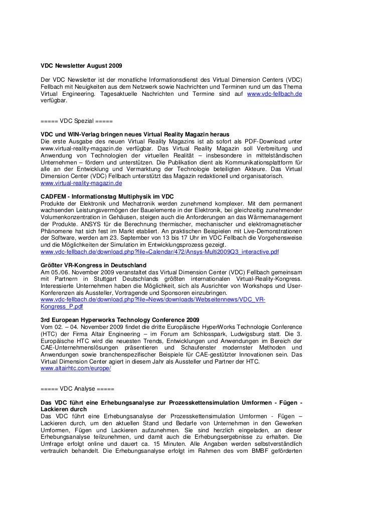 VDC Newsletter August 2009Der VDC Newsletter ist der monatliche Informationsdienst des Virtual Dimension Centers (VDC)Fell...