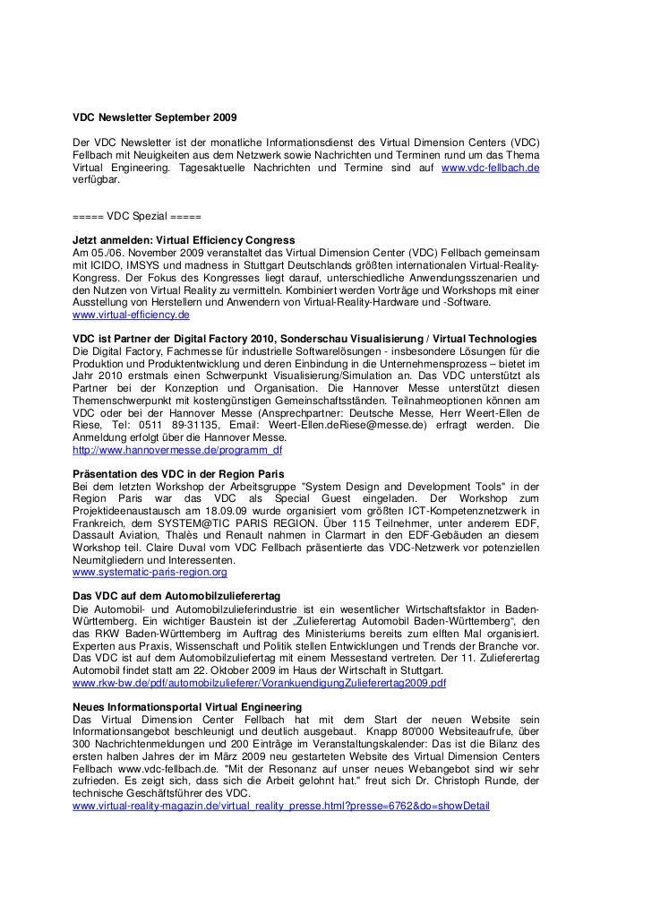 VDC Newsletter September 2009Der VDC Newsletter ist der monatliche Informationsdienst des Virtual Dimension Centers (VDC)F...