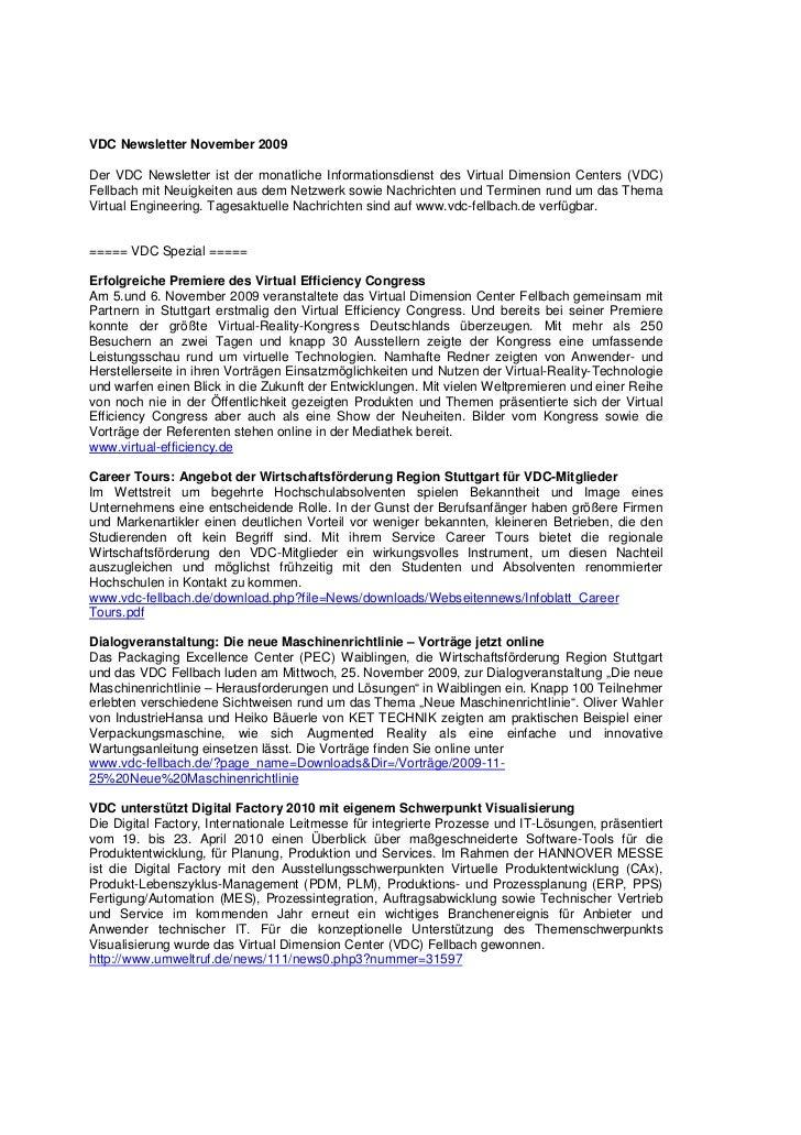 VDC Newsletter November 2009Der VDC Newsletter ist der monatliche Informationsdienst des Virtual Dimension Centers (VDC)Fe...
