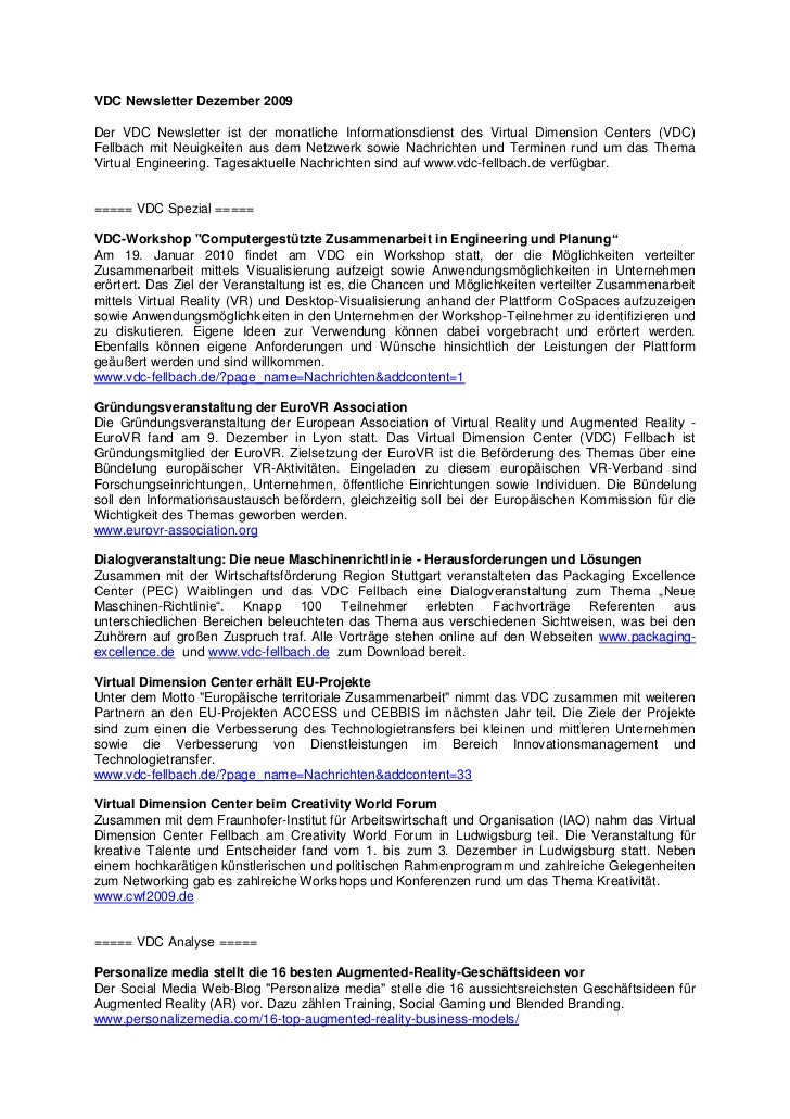 VDC Newsletter Dezember 2009Der VDC Newsletter ist der monatliche Informationsdienst des Virtual Dimension Centers (VDC)Fe...