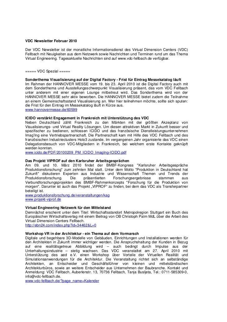VDC Newsletter Februar 2010Der VDC Newsletter ist der monatliche Informationsdienst des Virtual Dimension Centers (VDC)Fel...