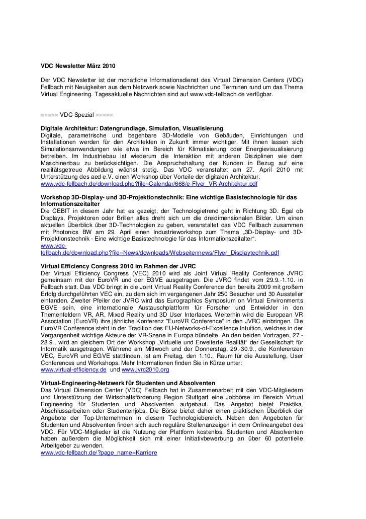 VDC Newsletter März 2010Der VDC Newsletter ist der monatliche Informationsdienst des Virtual Dimension Centers (VDC)Fellba...