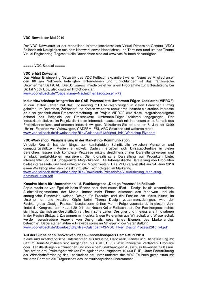 VDC Newsletter Mai 2010Der VDC Newsletter ist der monatliche Informationsdienst des Virtual Dimension Centers (VDC)Fellbac...