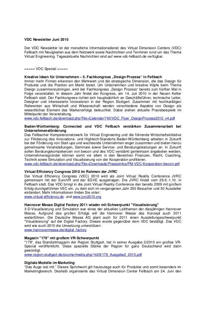 VDC Newsletter Juni 2010Der VDC Newsletter ist der monatliche Informationsdienst des Virtual Dimension Centers (VDC)Fellba...