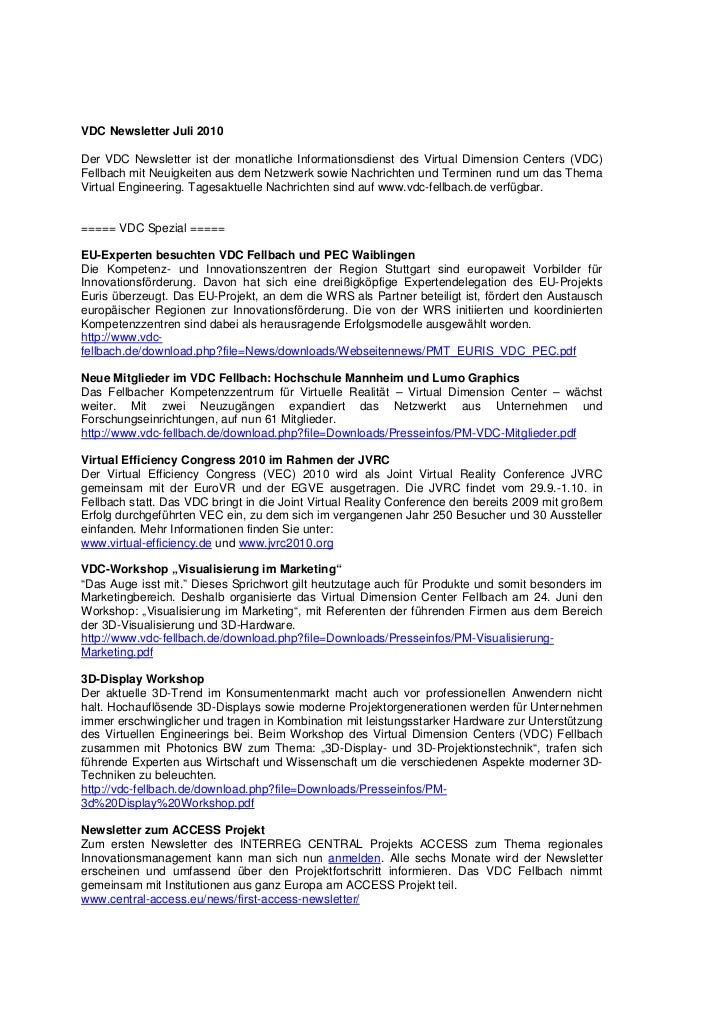 VDC Newsletter Juli 2010Der VDC Newsletter ist der monatliche Informationsdienst des Virtual Dimension Centers (VDC)Fellba...