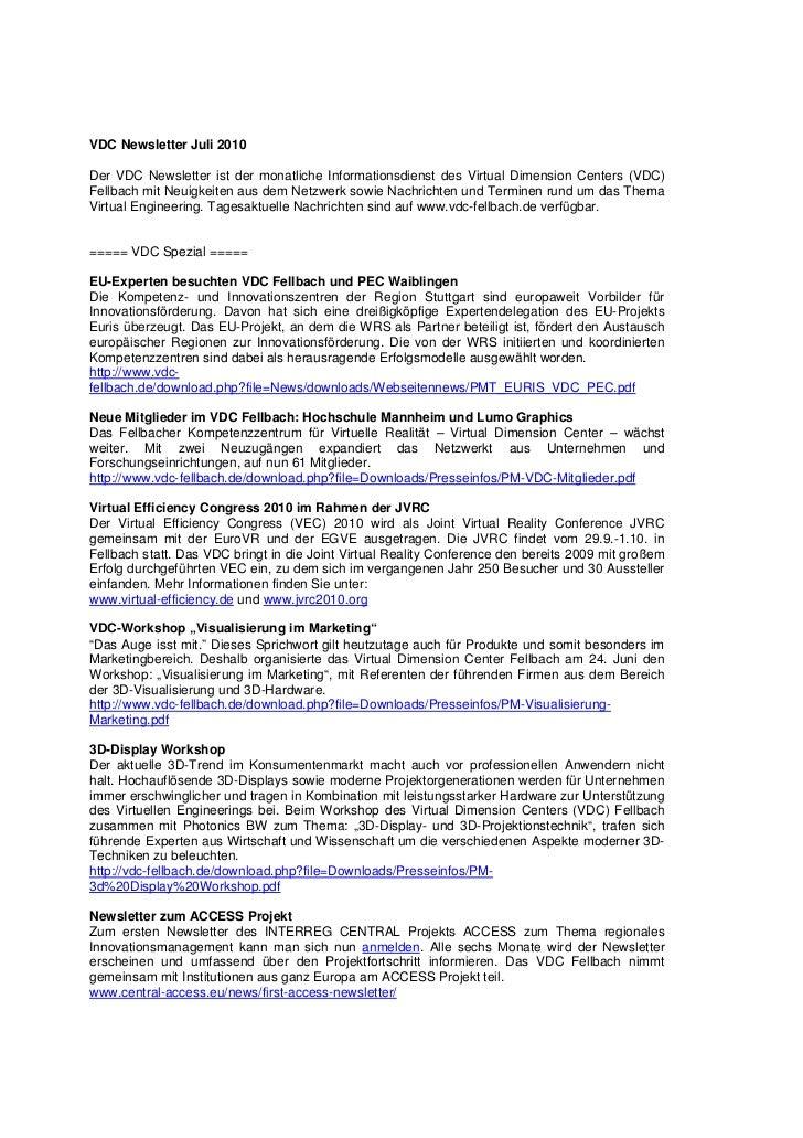 VDC Newsletter 2010-07