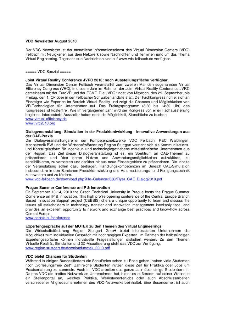VDC Newsletter August 2010Der VDC Newsletter ist der monatliche Informationsdienst des Virtual Dimension Centers (VDC)Fell...