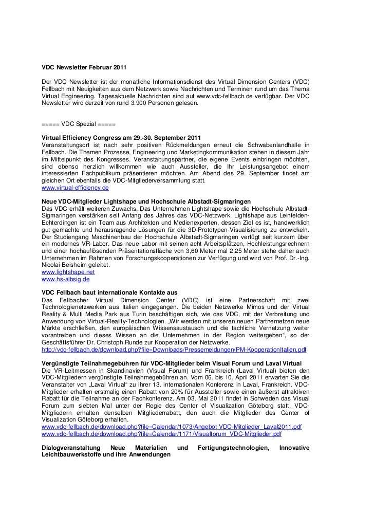 VDC Newsletter 2011-02