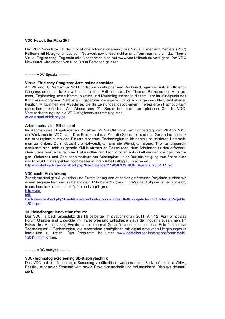 VDC Newsletter März 2011Der VDC Newsletter ist der monatliche Informationsdienst des Virtual Dimension Centers (VDC)Fellba...