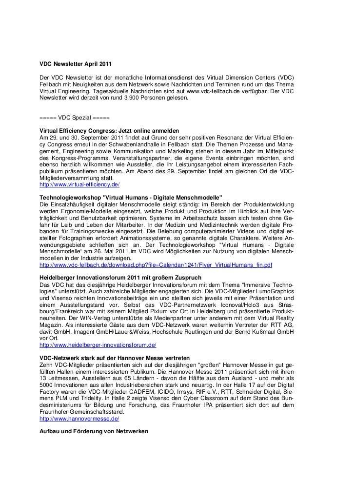VDC Newsletter April 2011Der VDC Newsletter ist der monatliche Informationsdienst des Virtual Dimension Centers (VDC)Fellb...