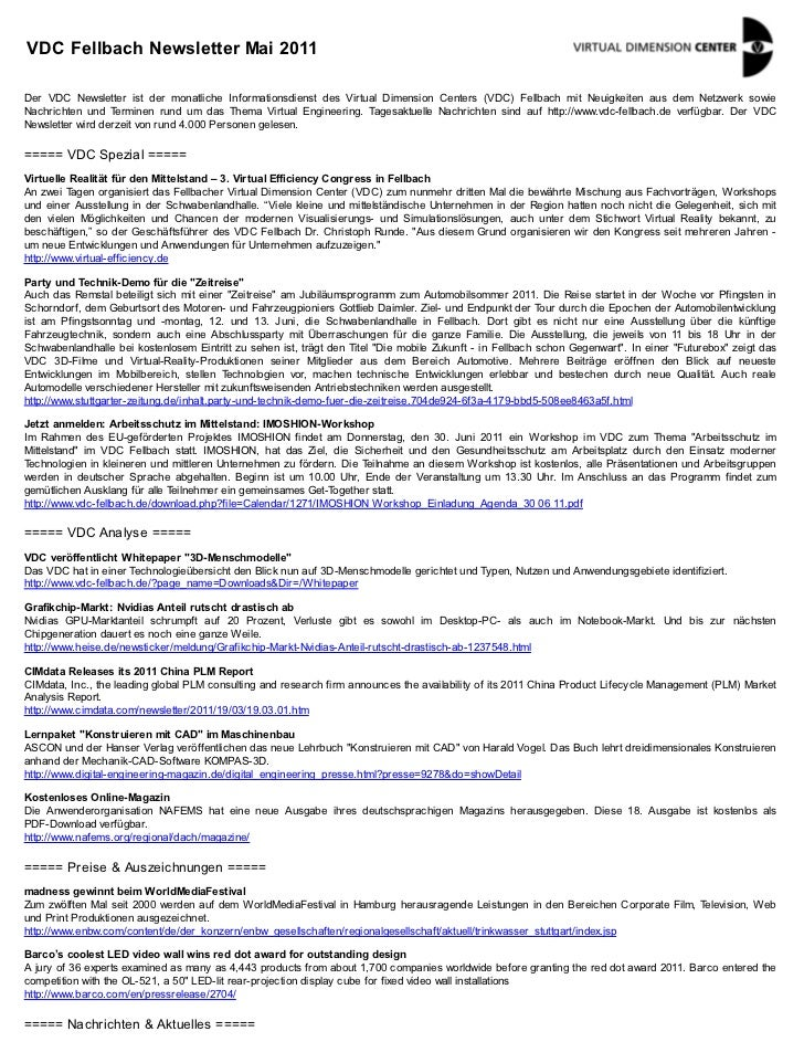 VDC Fellbach Newsletter Mai 2011Der VDC Newsletter ist der monatliche Informationsdienst des Virtual Dimension Centers (VD...