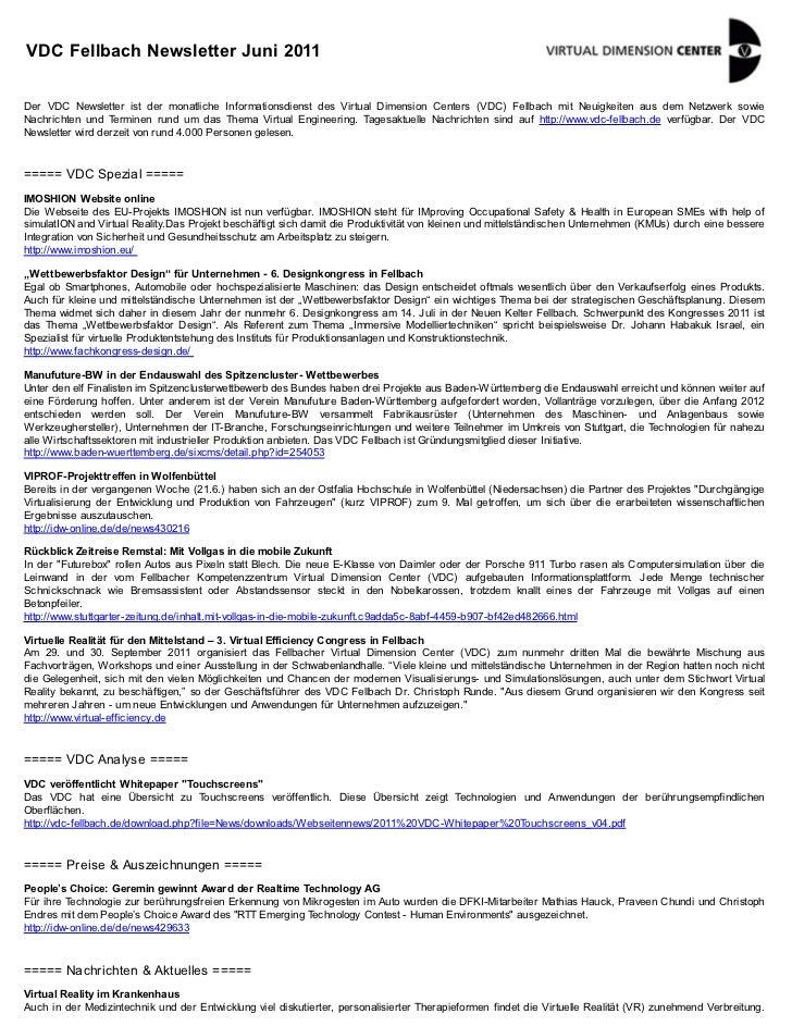 VDC Fellbach Newsletter Juni 2011Der VDC Newsletter ist der monatliche Informationsdienst des Virtual Dimension Centers (V...