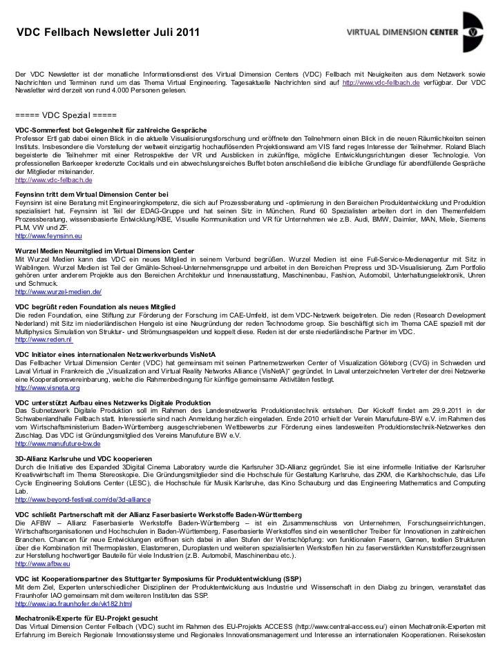 VDC Fellbach Newsletter Juli 2011Der VDC Newsletter ist der monatliche Informationsdienst des Virtual Dimension Centers (V...