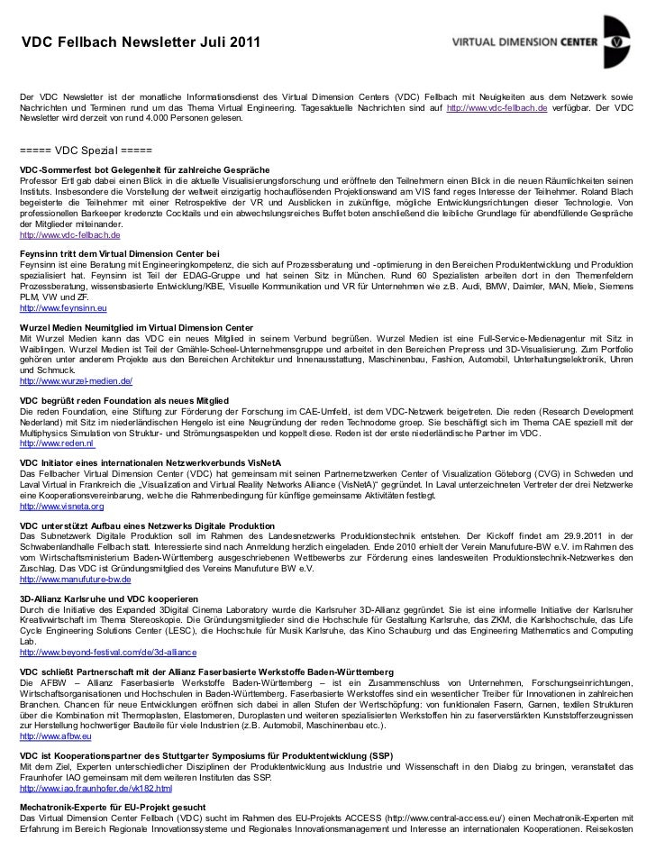 VDC Newsletter 2011-07