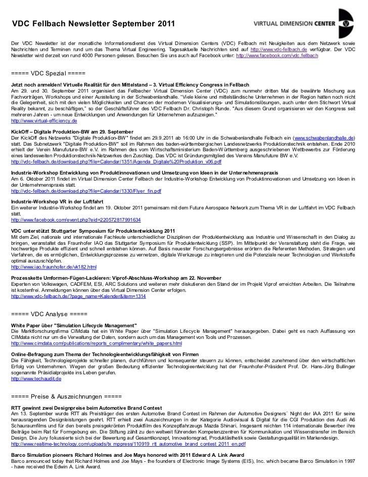 VDC Fellbach Newsletter September 2011Der VDC Newsletter ist der monatliche Informationsdienst des Virtual Dimension Cente...