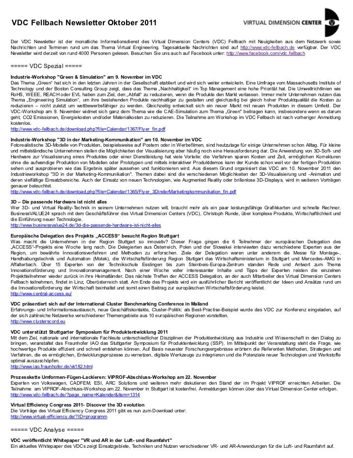 VDC Fellbach Newsletter Oktober 2011Der VDC Newsletter ist der monatliche Informationsdienst des Virtual Dimension Centers...