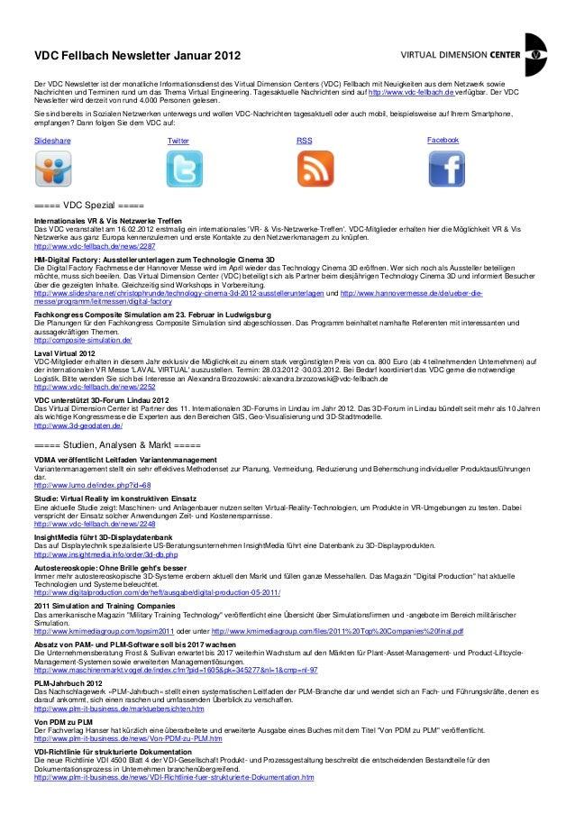 VDC Fellbach Newsletter Januar 2012 Der VDC Newsletter ist der monatliche Informationsdienst des Virtual Dimension Centers...