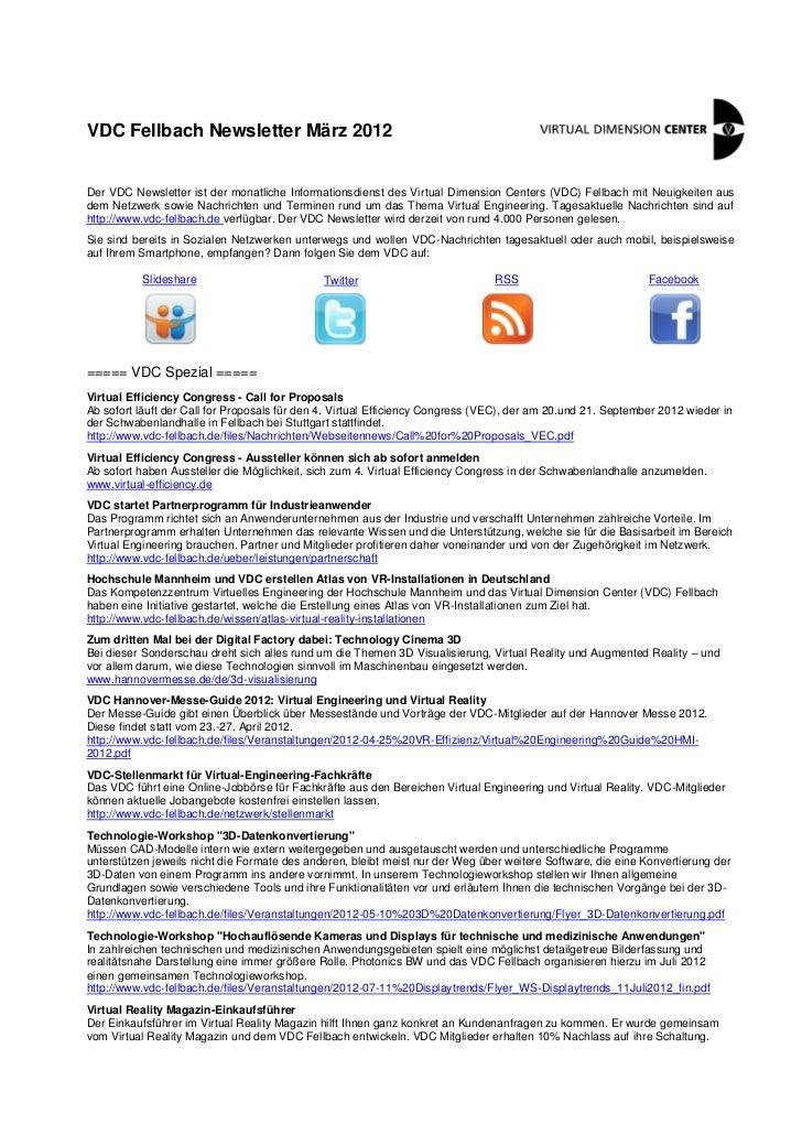 VDC Fellbach Newsletter März 2012Der VDC Newsletter ist der monatliche Informationsdienst des Virtual Dimension Centers (V...