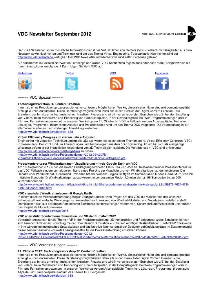 VDC Newsletter September 2012Der VDC Newsletter ist der monatliche Informationsdienst des Virtual Dimension Centers (VDC) ...