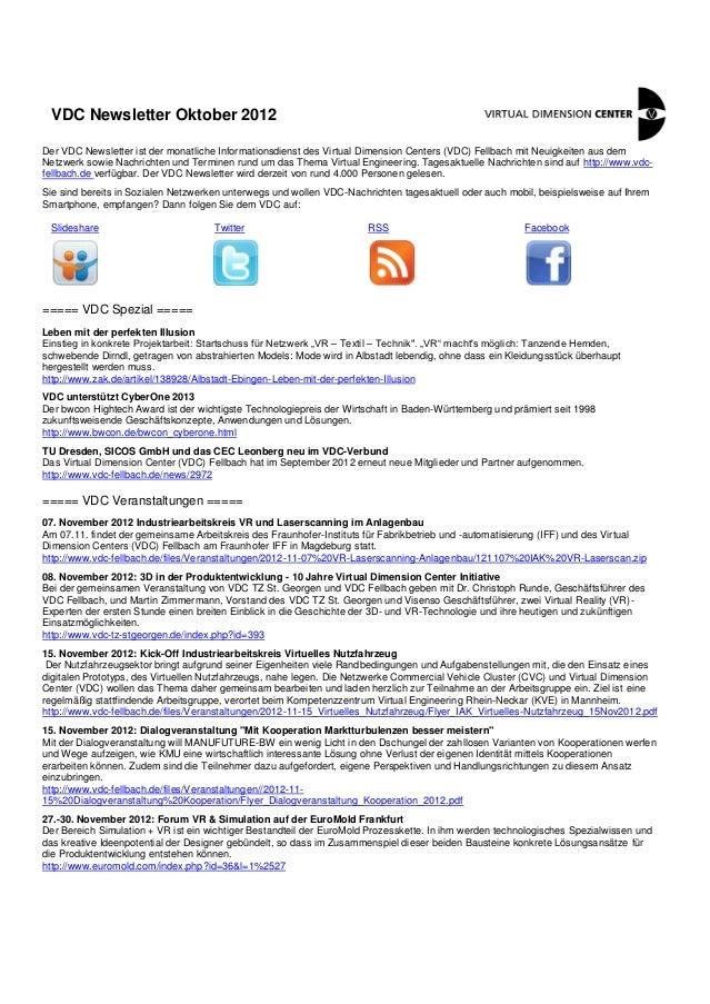 VDC Newsletter Oktober 2012Der VDC Newsletter ist der monatliche Informationsdienst des Virtual Dimension Centers (VDC) Fe...