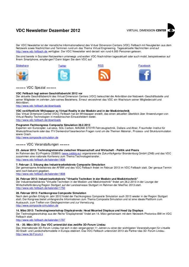 VDC Newsletter Dezember 2012Der VDC Newsletter ist der monatliche Informationsdienst des Virtual Dimension Centers (VDC) F...