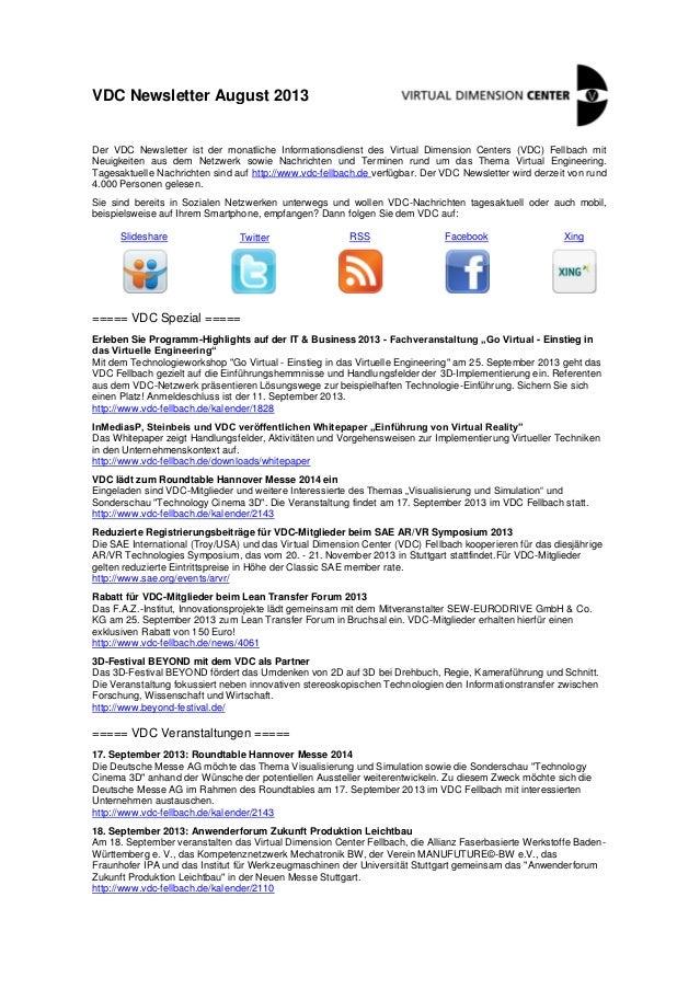 VDC Newsletter August 2013 Der VDC Newsletter ist der monatliche Informationsdienst des Virtual Dimension Centers (VDC) Fe...