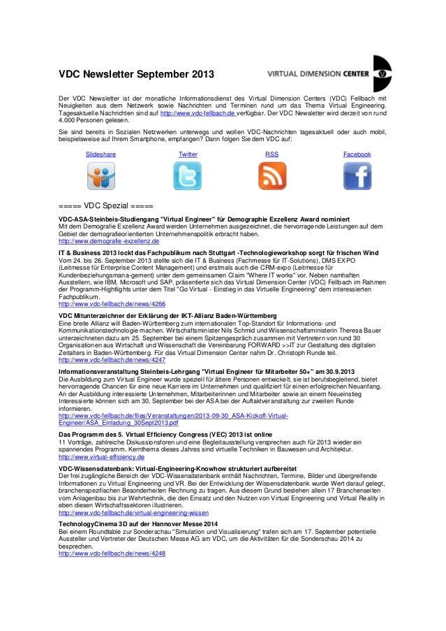 VDC Newsletter 2013-09