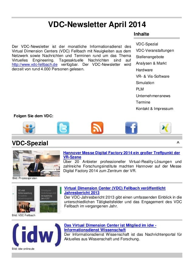VDC-Newsletter April 2014 Der VDC-Newsletter ist der monatliche Informationsdienst des Virtual Dimension Centers (VDC) Fel...