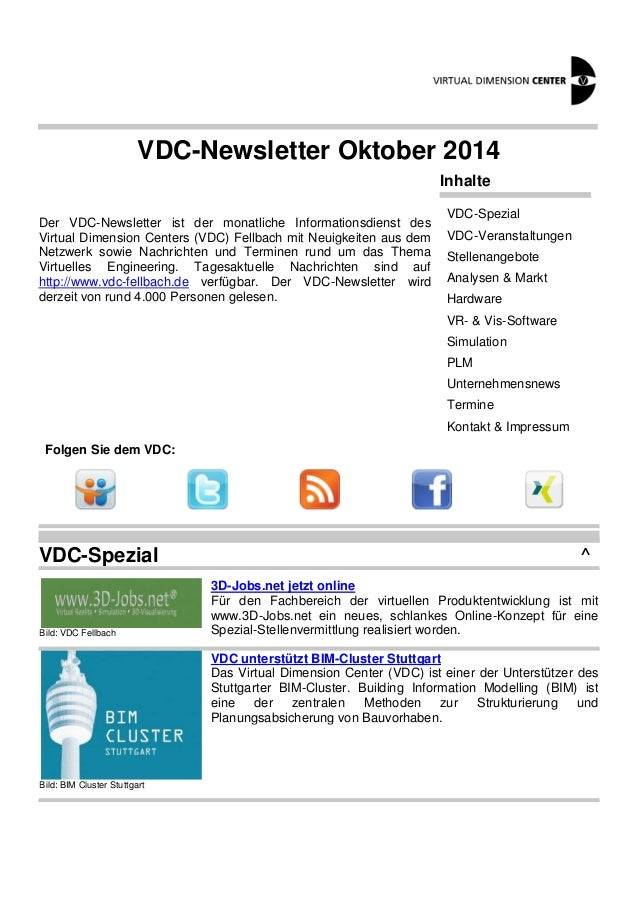 VDC-Newsletter Oktober 2014  Der VDC-Newsletter ist der monatliche Informationsdienst des  Virtual Dimension Centers (VDC)...