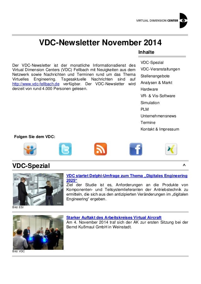VDC-Newsletter November 2014 Der VDC-Newsletter ist der monatliche Informationsdienst des Virtual Dimension Centers (VDC) ...