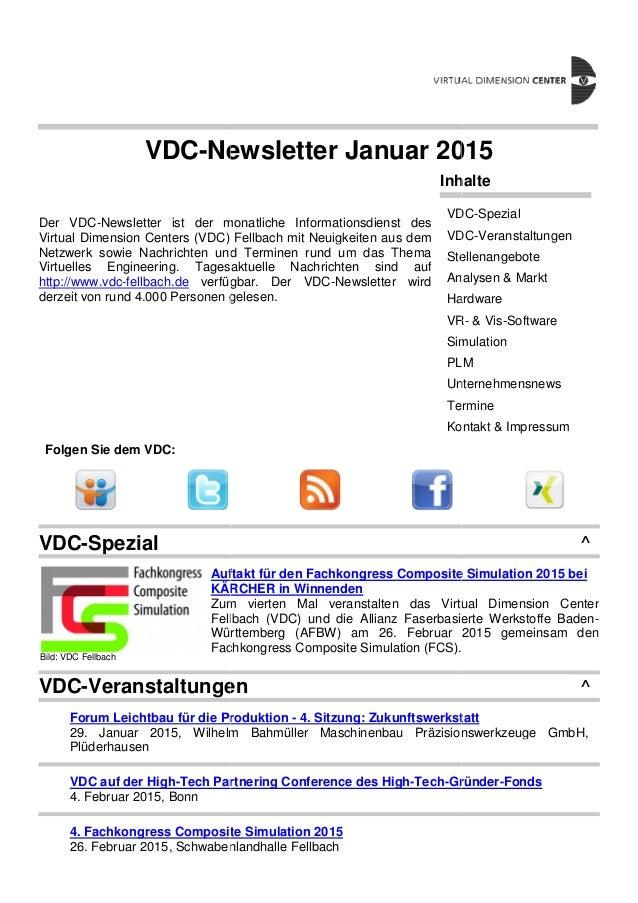 VDC-Ne Der VDC-Newsletter ist der m Virtual Dimension Centers (VDC) Netzwerk sowie Nachrichten und Virtuelles Engineering....