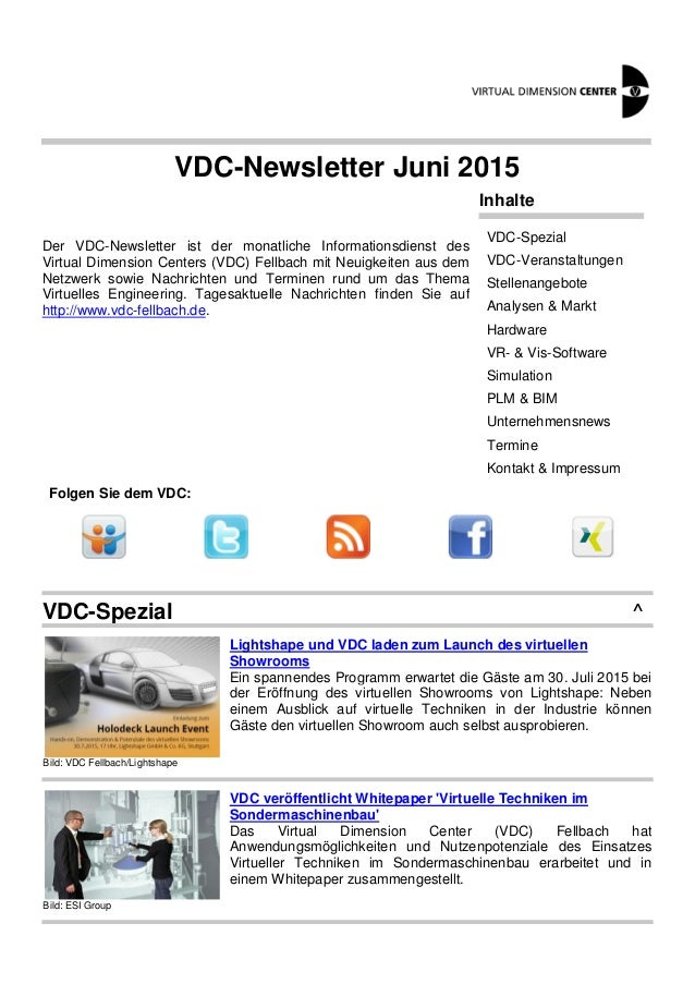 VDC-Newsletter Juni 2015 Der VDC-Newsletter ist der monatliche Informationsdienst des Virtual Dimension Centers (VDC) Fell...