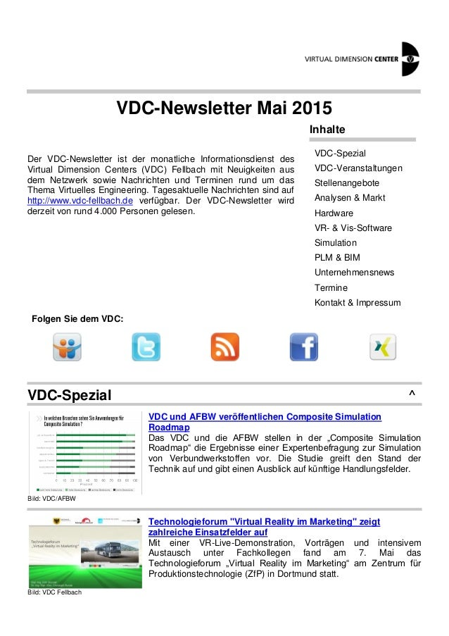 VDC-Newsletter Mai 2015 Der VDC-Newsletter ist der monatliche Informationsdienst des Virtual Dimension Centers (VDC) Fellb...