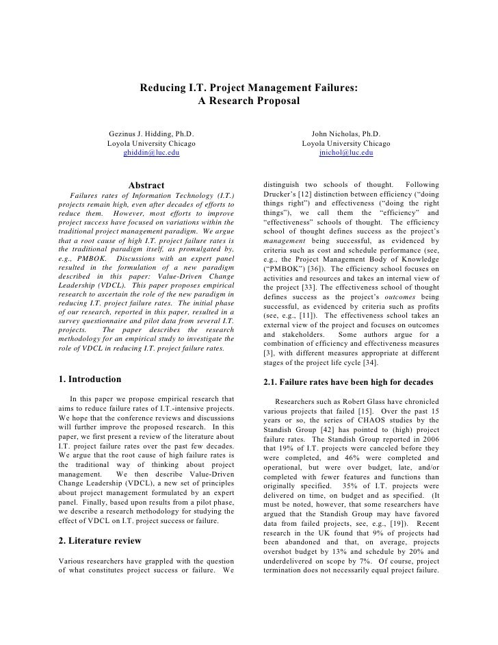 Reducing I.T. Project Management Failures:                                     A Research Proposal                 Gezinus...