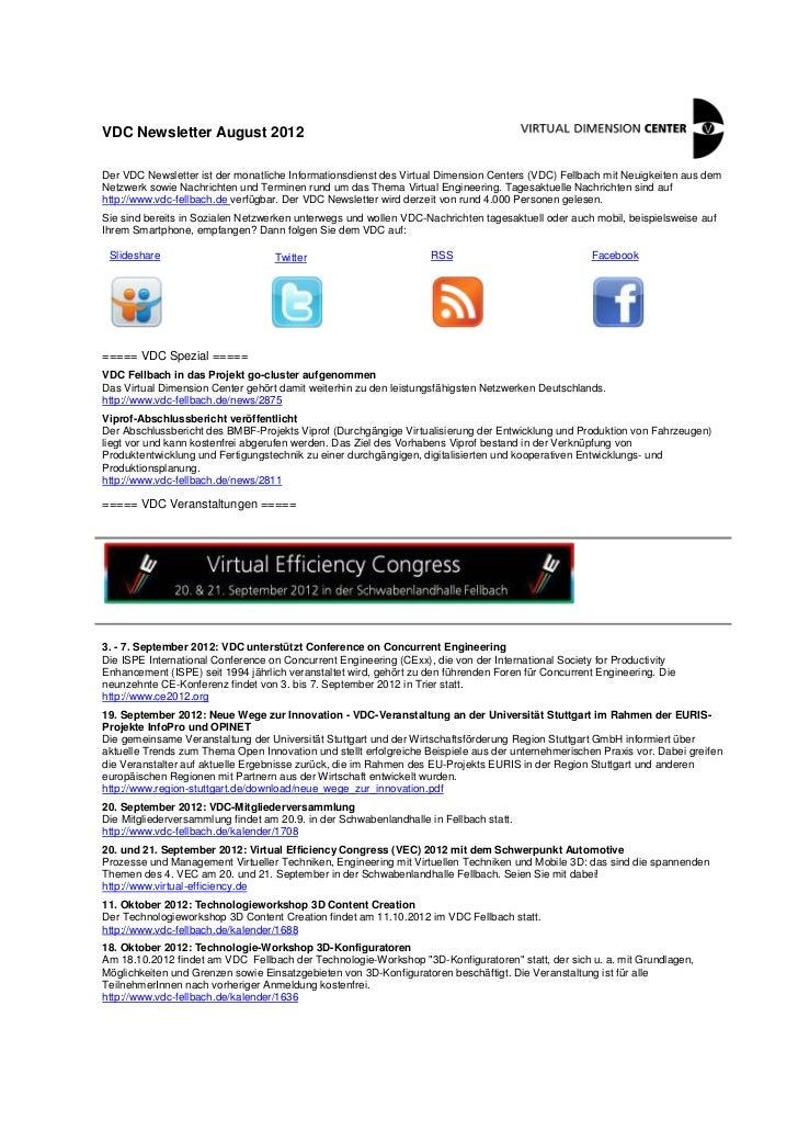 VDC Newsletter August 2012Der VDC Newsletter ist der monatliche Informationsdienst des Virtual Dimension Centers (VDC) Fel...