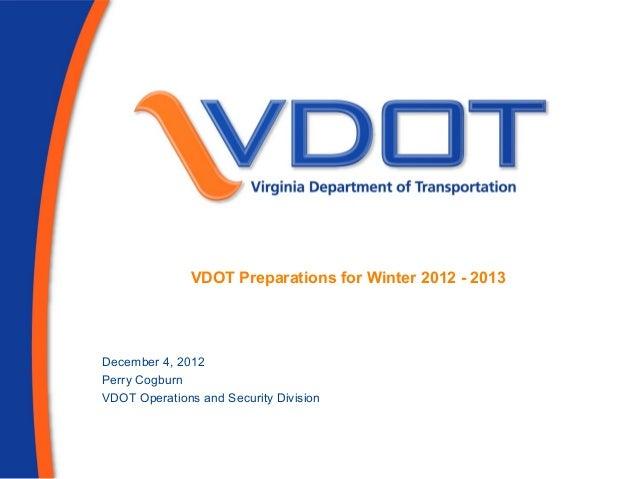 VDOT Winter Weather Preparations