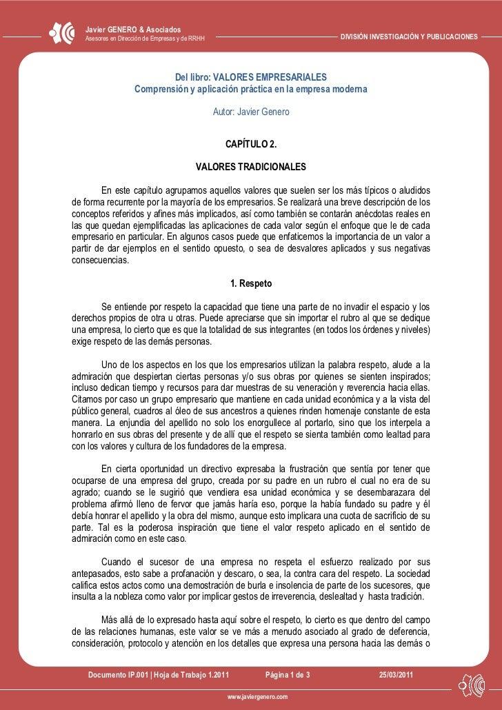 Javier GENERO & Asociados   Asesores en Dirección de Empresas y de RRHH                                  DIVISIÓN INVESTIG...