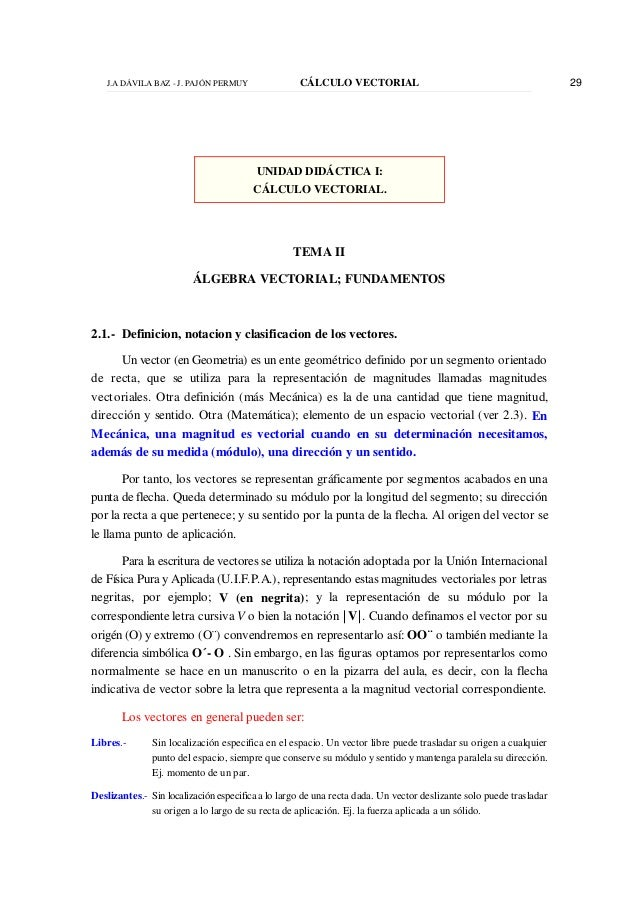 J.A DÁVILA BAZ - J. PAJÓN PERMUY CÁLCULO VECTORIAL 29 UNIDAD DIDÁCTICA I: CÁLCULO VECTORIAL. TEMA II ÁLGEBRA VECTORIAL; FU...