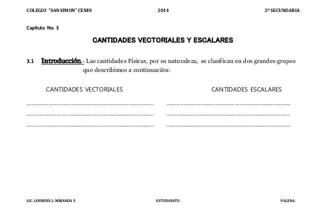 "COLEGIO ""SAN SIMON"" CENDI 2014 2º SECUNDARIA LIC. LOURDES L. MIRANDA Y. ESTUDIANTE: PAGINA: Capitulo No. 3 CANTIDADES VECT..."
