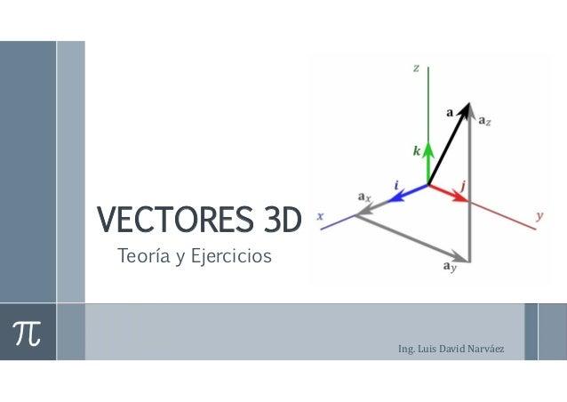 VECTORES 3D  Teoría y Ejercicios  Ing. Luis David Narváez