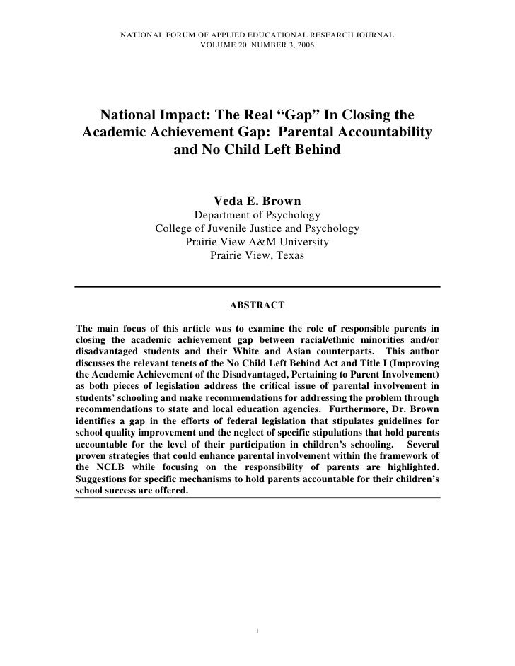 NATIONAL FORUM OF APPLIED EDUCATIONAL RESEARCH JOURNAL                         VOLUME 20, NUMBER 3, 2006   National Impact...